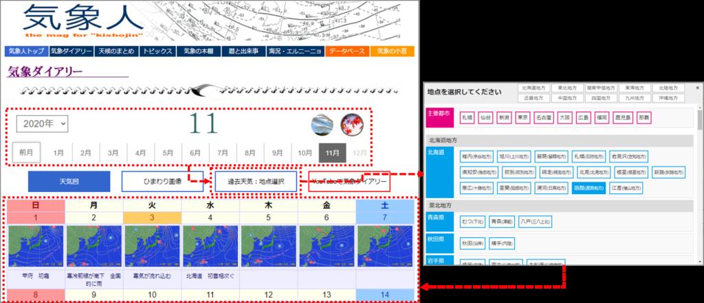 気象人 日別気象データの検索方法