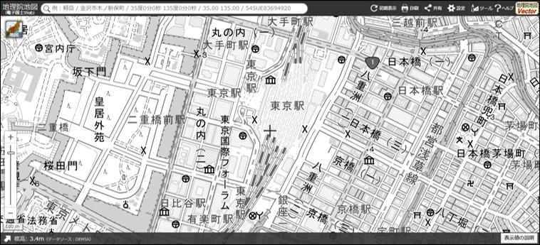 地理院地図の淡色地図(グレースケール)
